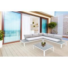 Salotto Angolare Maddalena Divano 5 posti, Tavolino Vari Colori Bianco