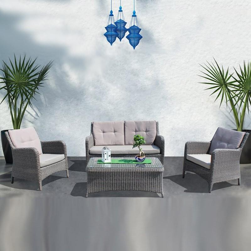 Salotto Lipari Divano 2 posti, 2 Poltrone, Tavolino e Cuscini