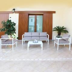 Salotto Panarea Divano 3 posti, 2 poltrone, tavolino e cuscini