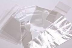 100 Sacchetti con Pattella Adesiva Super Trasparenti in Polipropilene detto Cellofan