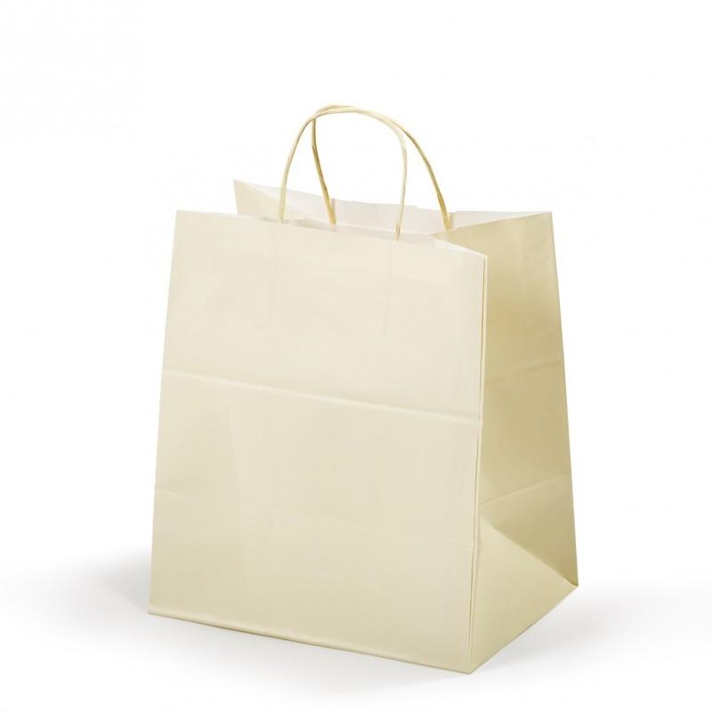 Shopper Carta per Pasticceria Avorio Maniglia Cordino Confezione 25 Pezzi