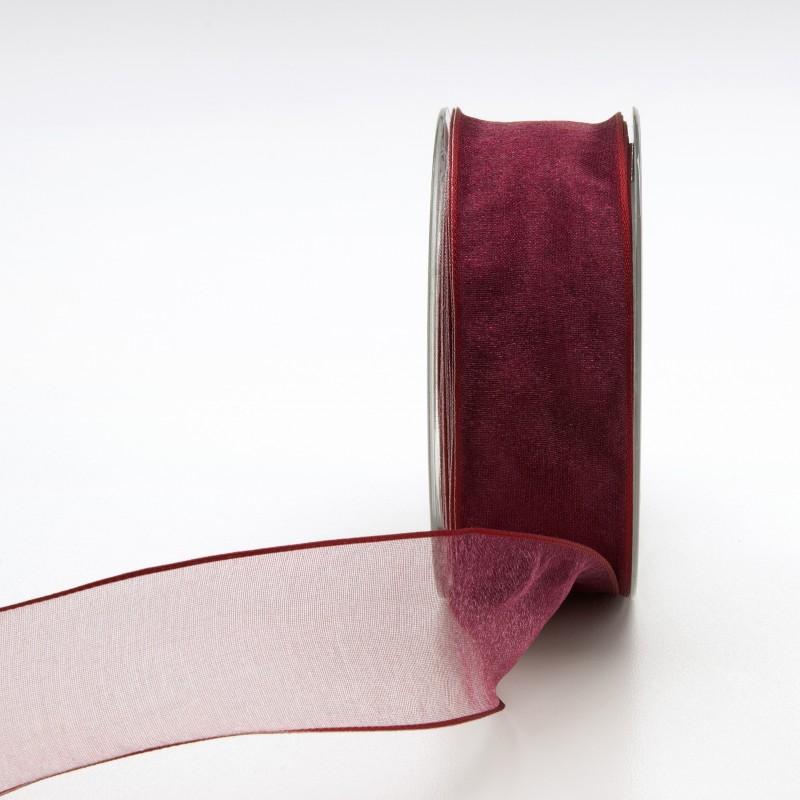 Nastro Tessuto Organza Bordato Animato Bordeaux