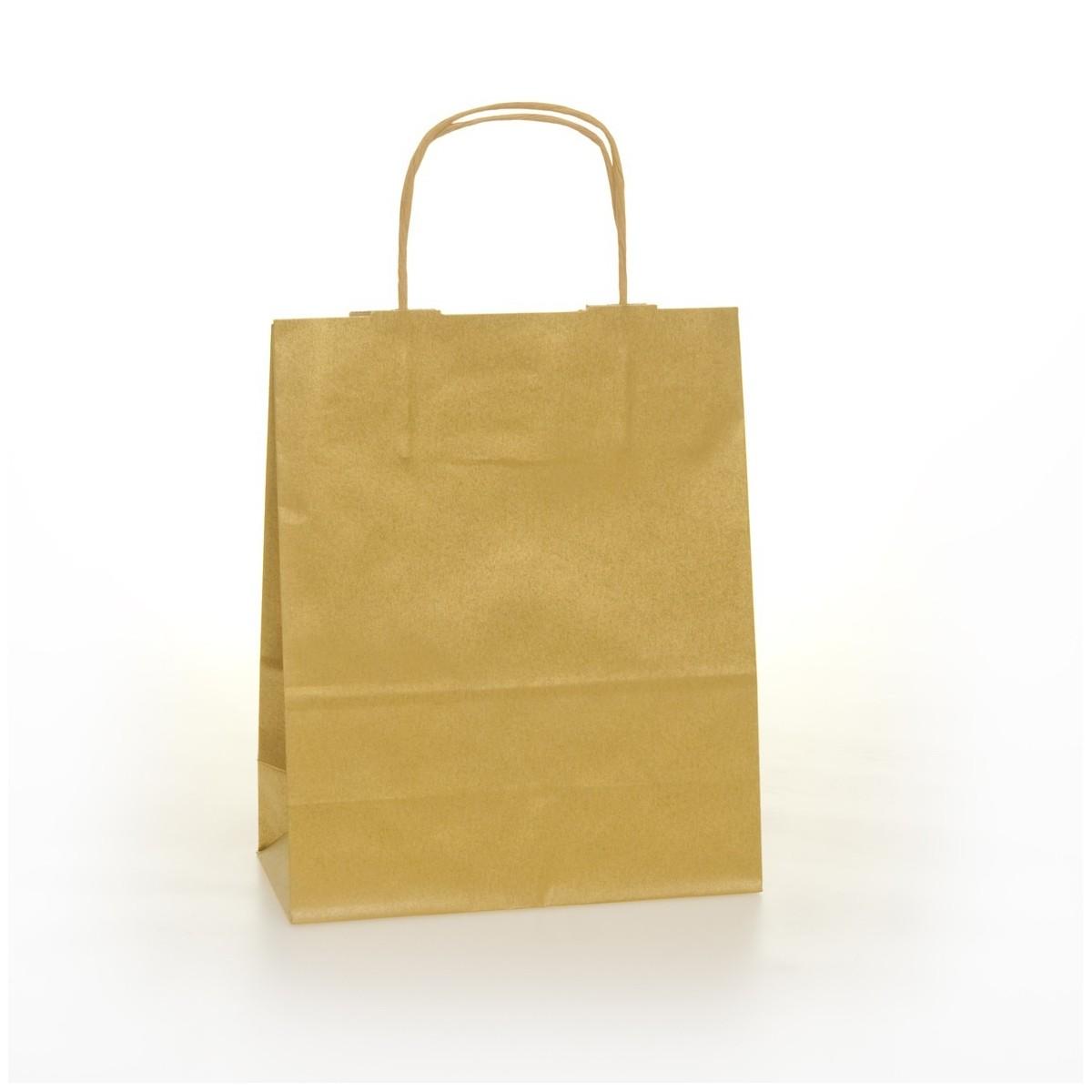 Shopper Carta Colorata Cordino Confezione 25 Pezzi Oro