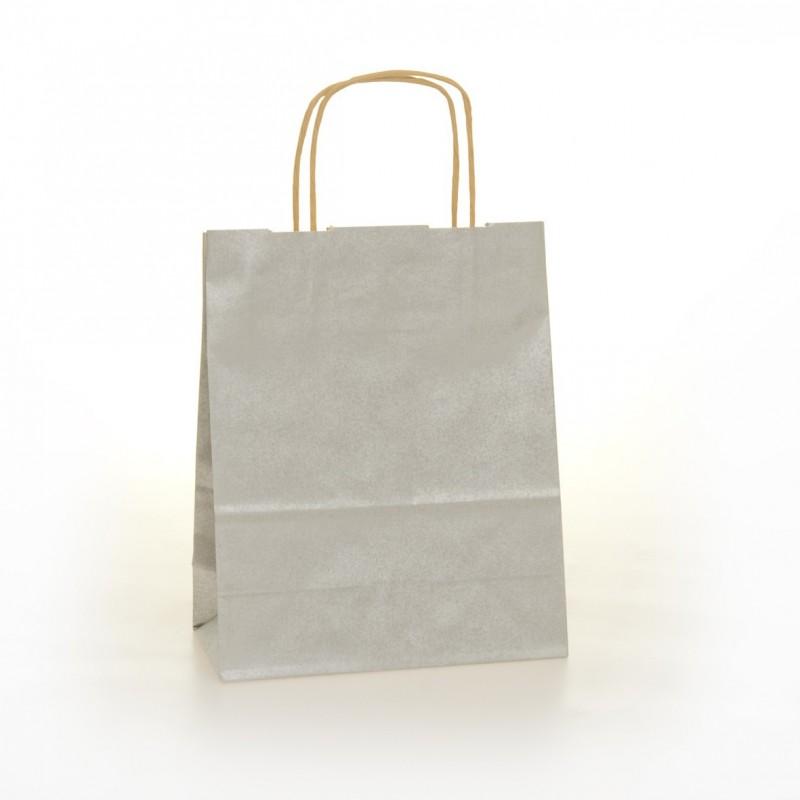 Shopper Carta Colorata Cordino Confezione 25 Pezzi Argento