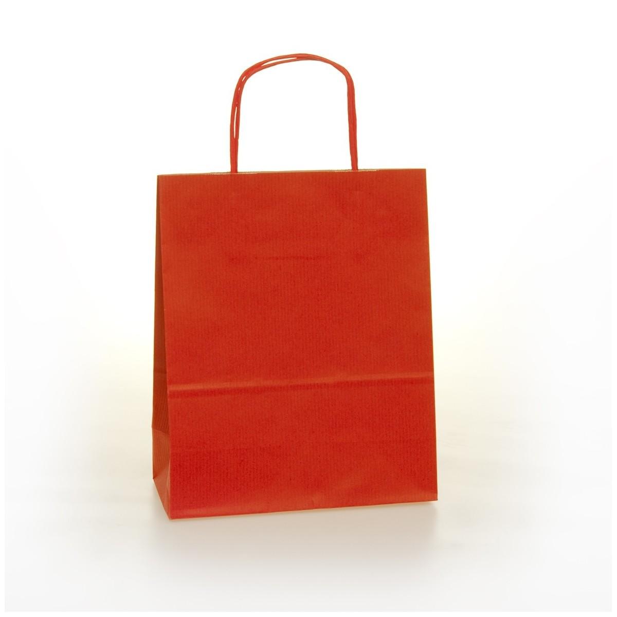 Shopper Carta Colorata Cordino Confezione 25 Pezzi Rosso