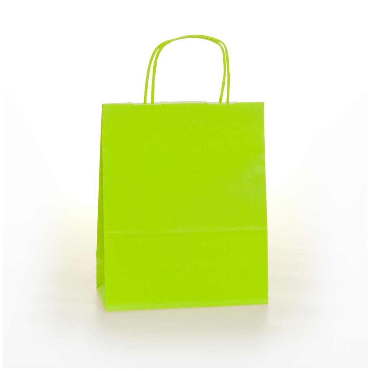 Shopper Carta Colorata Cordino Confezione 25 Pezzi Verde Acido