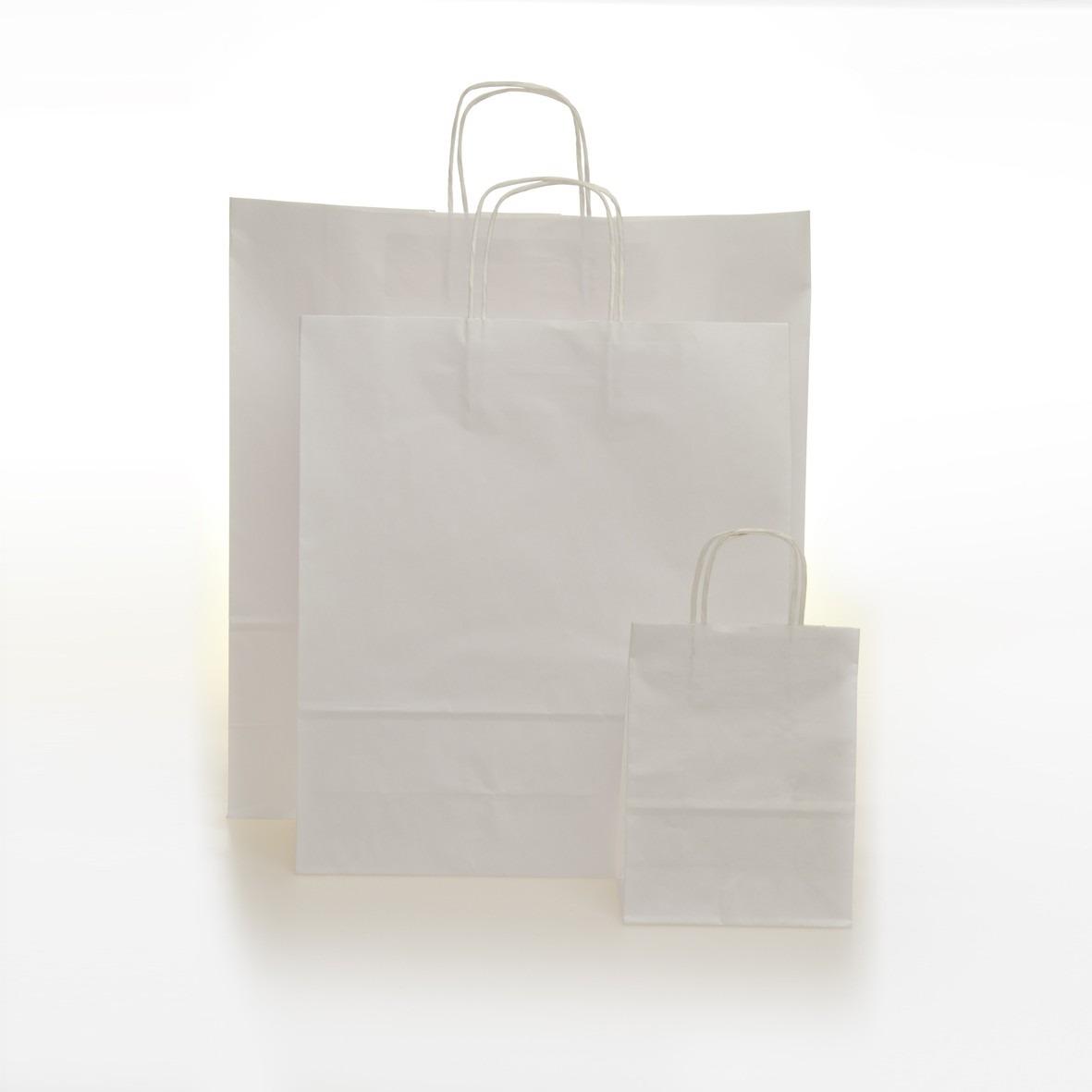 25 Shopper Sealing Bianco Maniglia Cordino