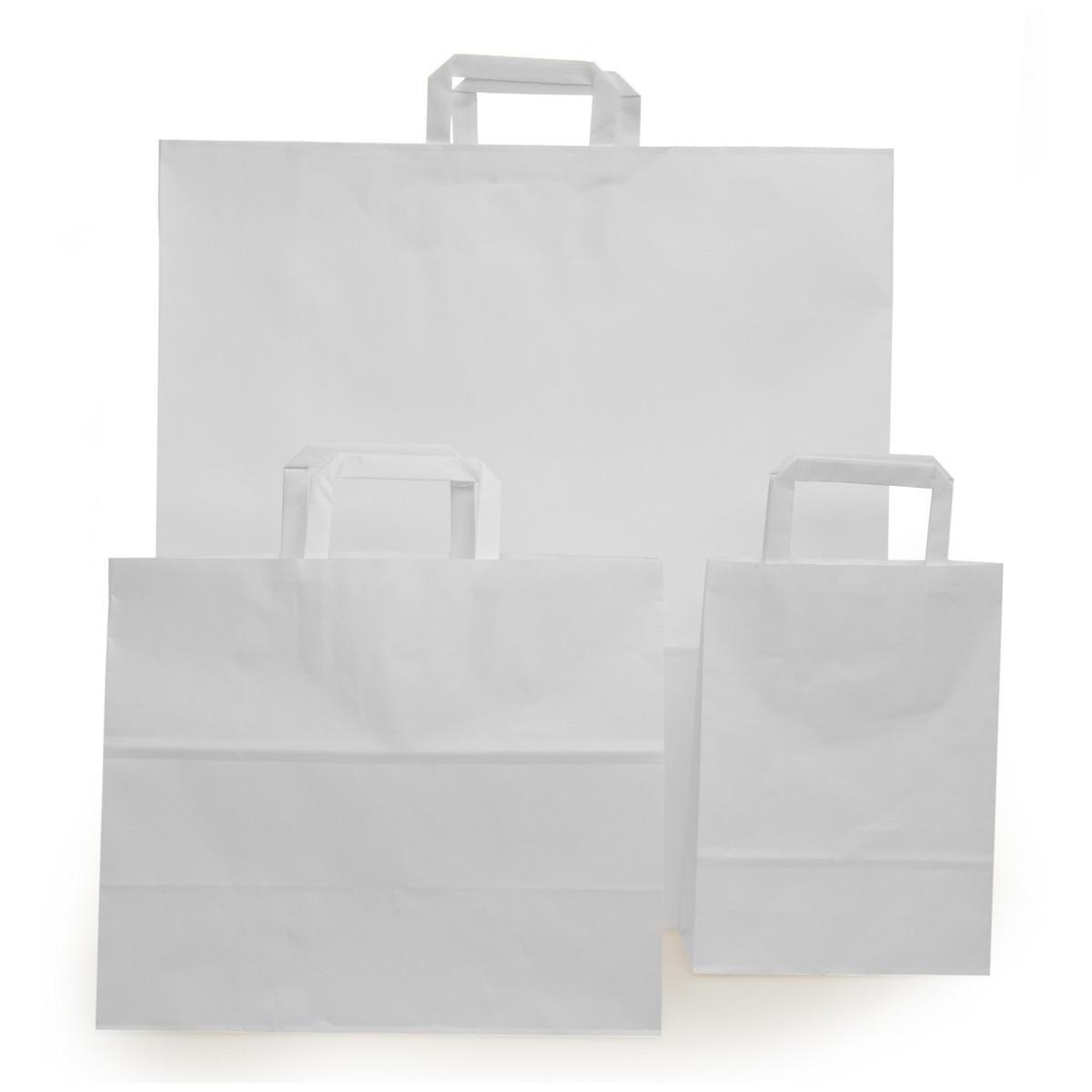 Shopper Carta Sealing Bianco Maniglia Piatta