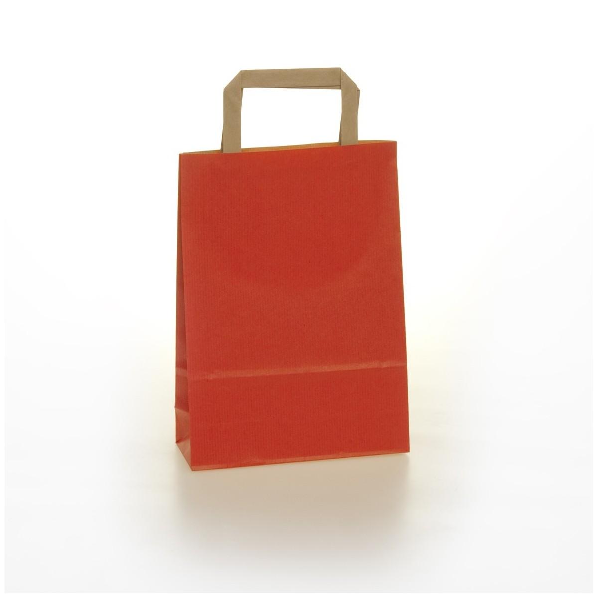 Shopper Carta  Colorata Maniglia Piatta Rosso