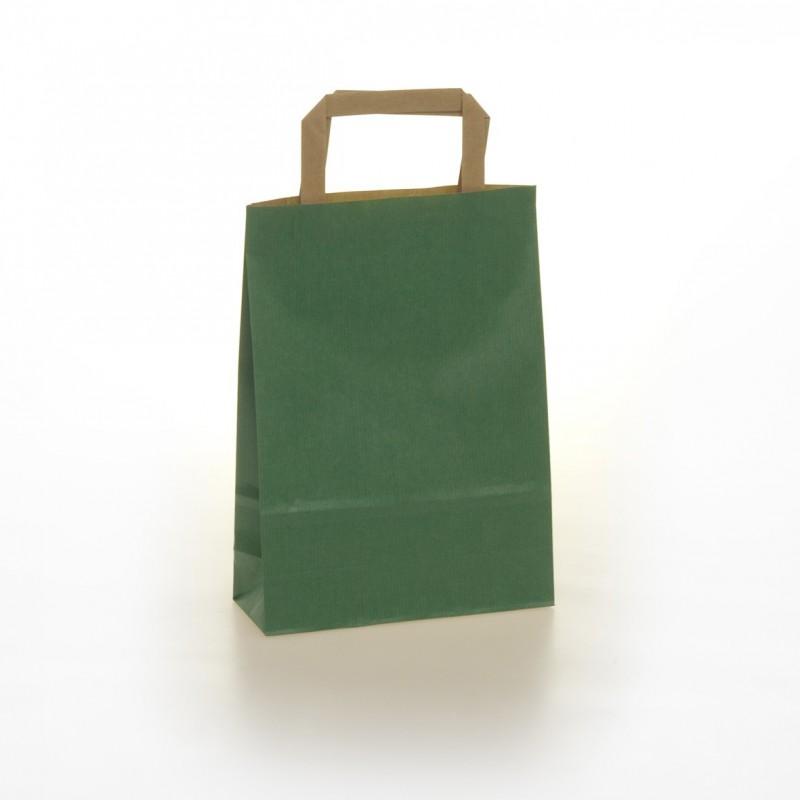 Shopper Carta Colorata Maniglia Piatta Verde