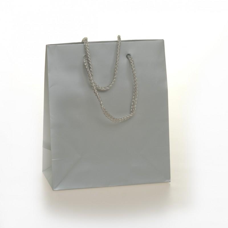 Shopper Carta Colorata Risvoltata Maniglia Cordino Confezione 12 Pezzi Argento