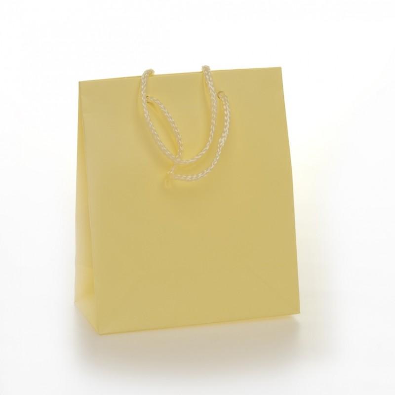 Shopper Carta Colorata Risvoltata Maniglia Cordino Confezione 12 Pezzi Avorio