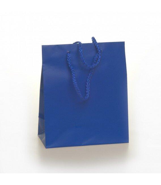 Shopper Carta Colorata Risvoltata Maniglia Cordino Confezione 12 Pezzi Blu