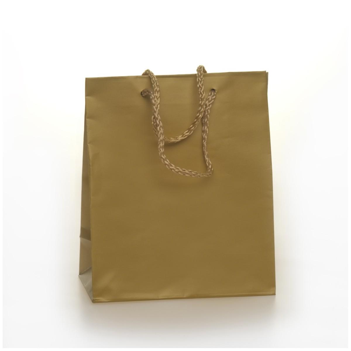 Shopper Carta Colorata Risvoltata Maniglia Cordino Confezione 12 Pezzi Oro