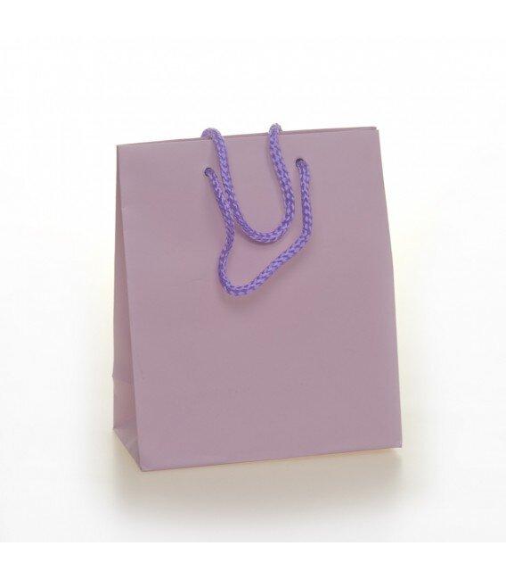Shopper Carta Colorata Risvoltata Maniglia Cordino Confezione 12 Pezzi Glicine