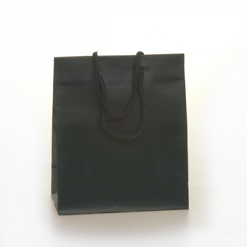 Shopper Carta Colorata Risvoltata Maniglia Cordino Confezione 12 Pezzi Nero