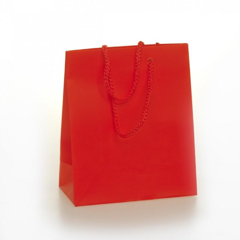 Shopper Carta Colorata Risvoltata Maniglia Cordino Confezione 12 Pezzi Rosso