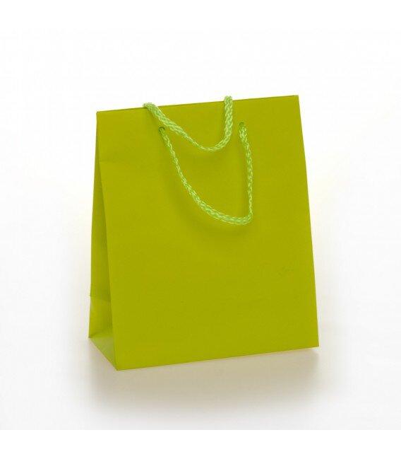 Shopper Carta Colorata Risvoltata Maniglia Cordino Confezione 12 Pezzi Verde Acido