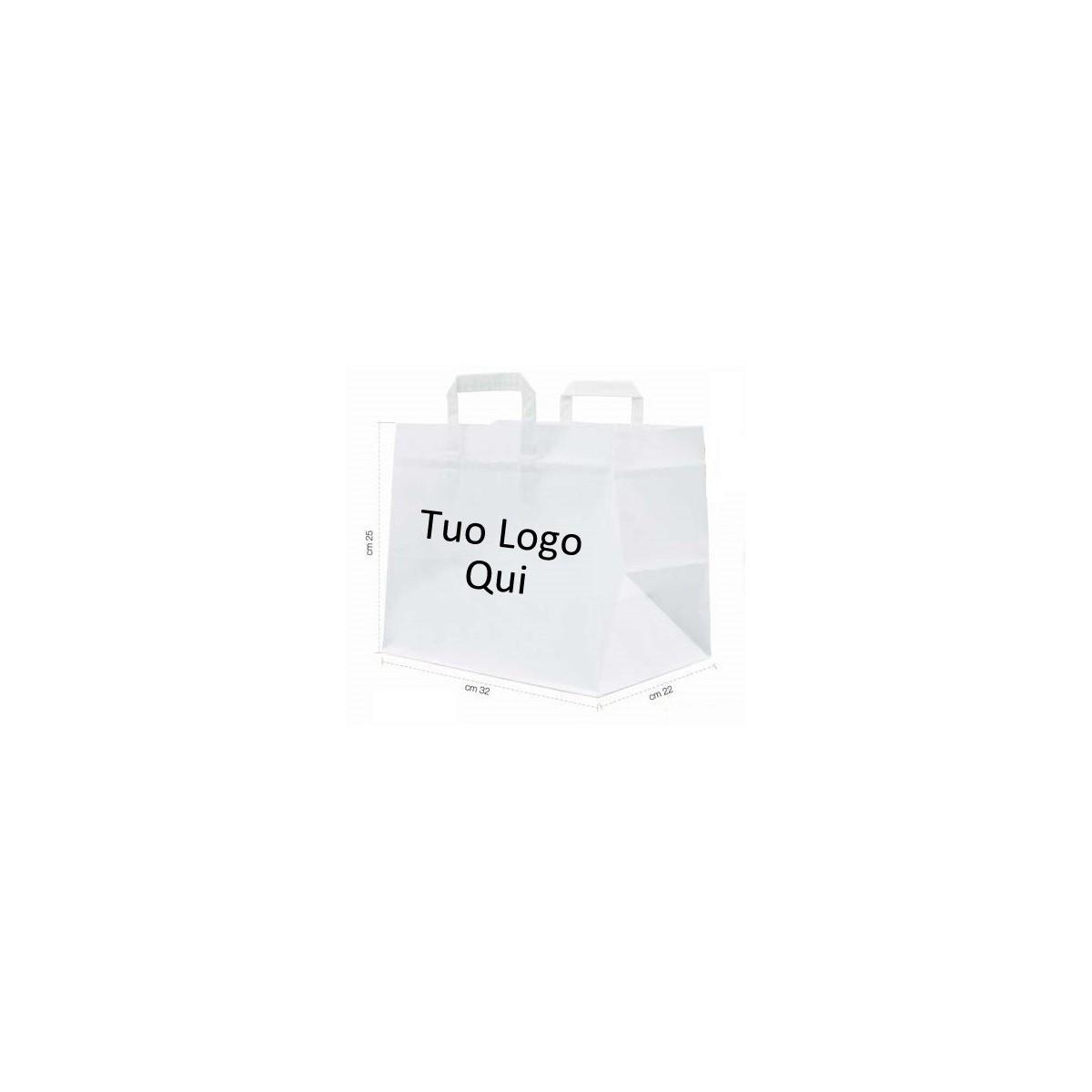 500 Shopper Fondo Largo cm.32x22x25 Personalizzate Pasticceria e Gelateria