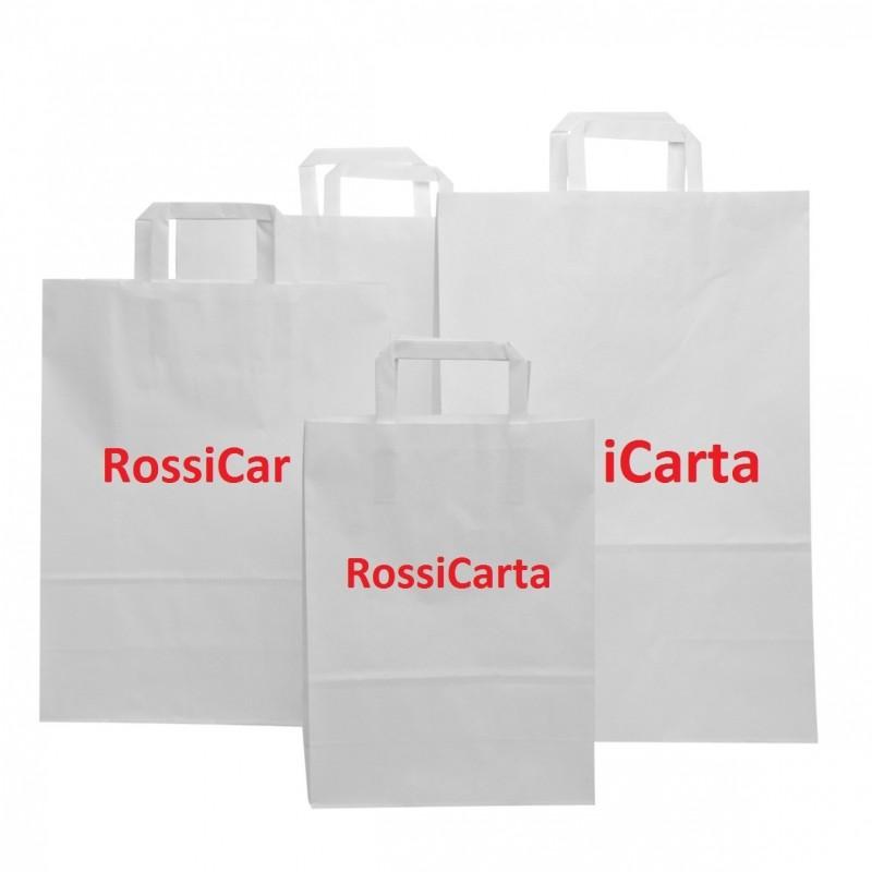 500 Pezzi Shopper Bianchi Maniglia Piatta Personalizzate 1 Colore 2 Lati