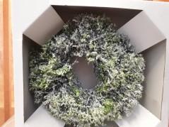 Coroncina Verde con Neve Cm.23