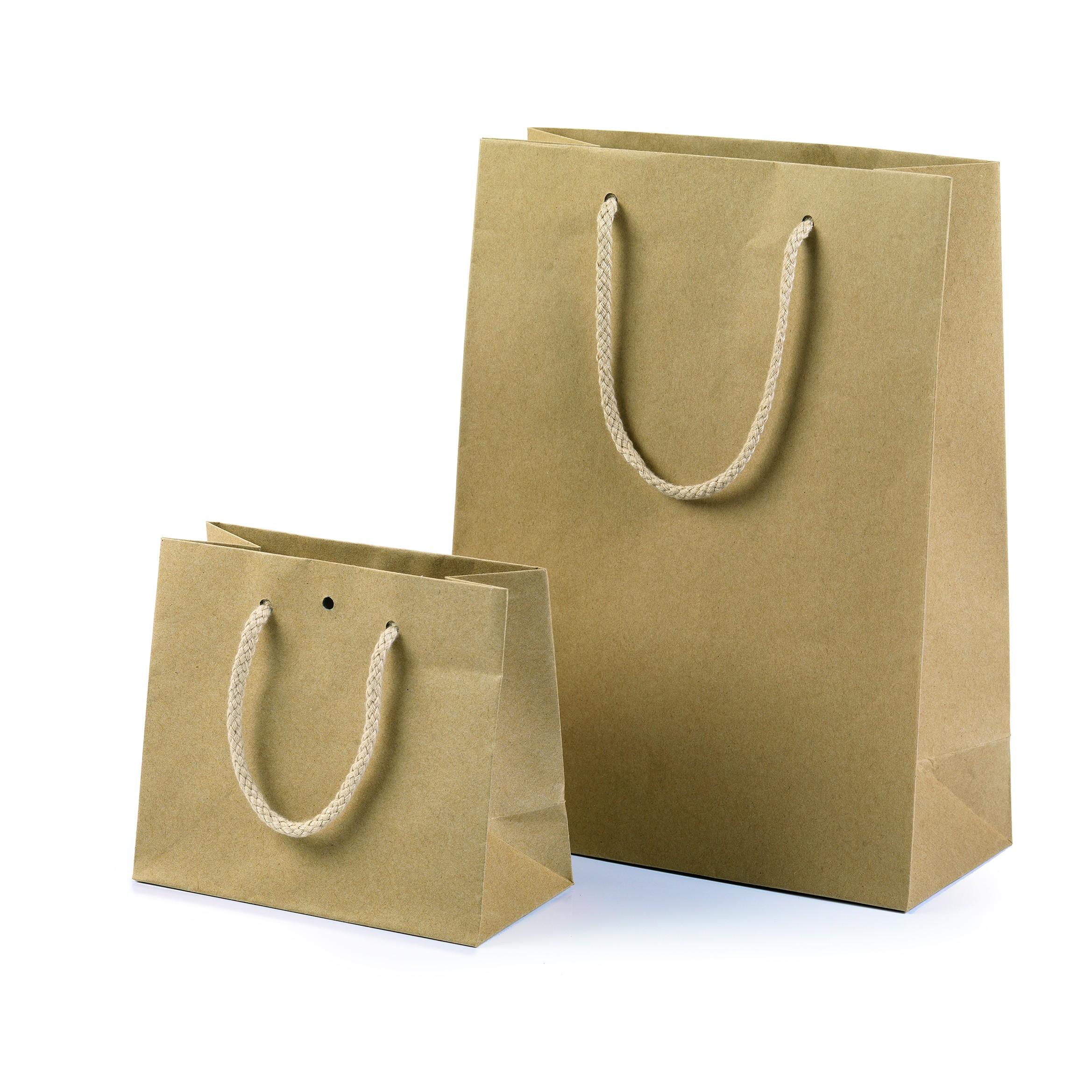 12 Shopper Lusso Carta Kraft Naturale con Maniglia Cordino