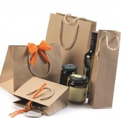 Shopper Carta Kraft Naturale Risvoltata Maniglia Cordino 12 pezzi.