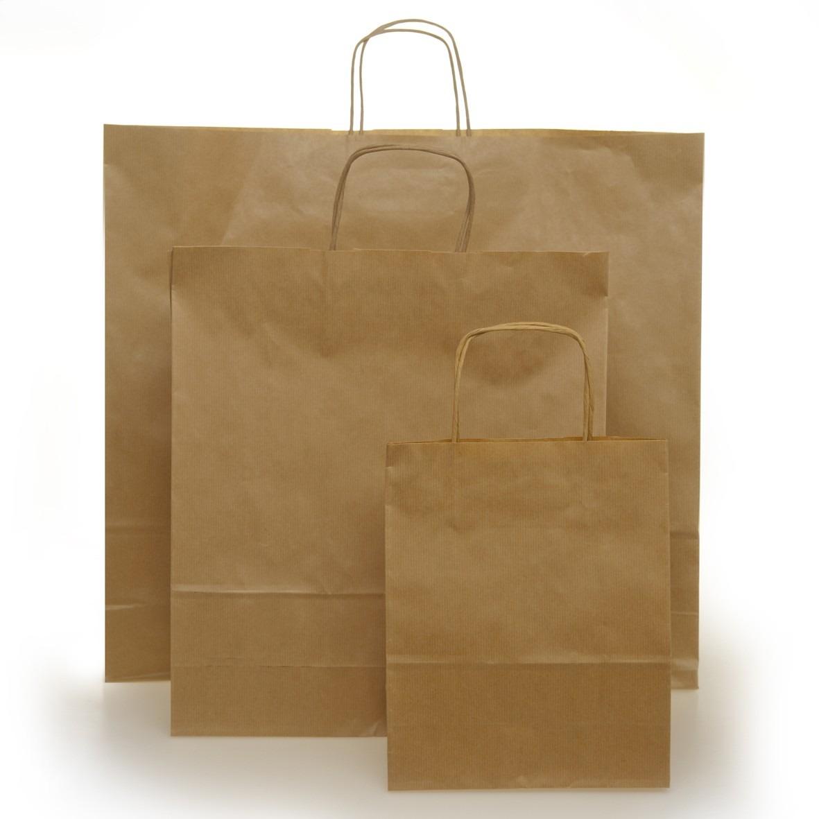 25 Shopper Carta Sealing Avana Maniglia Cordino a Scatole