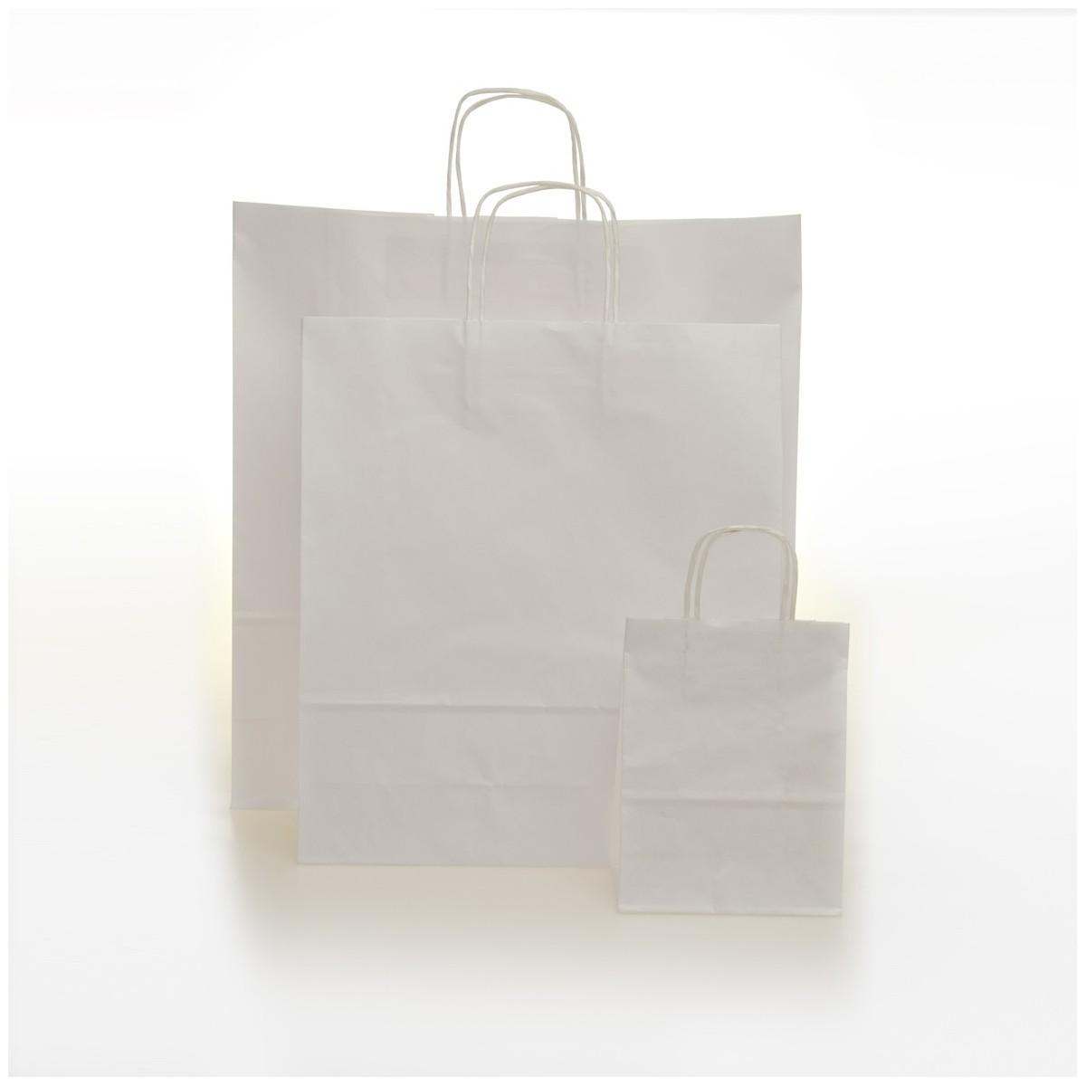 Shopper Carta Sealing Bianco Maniglia Cordino 25 Pezzi