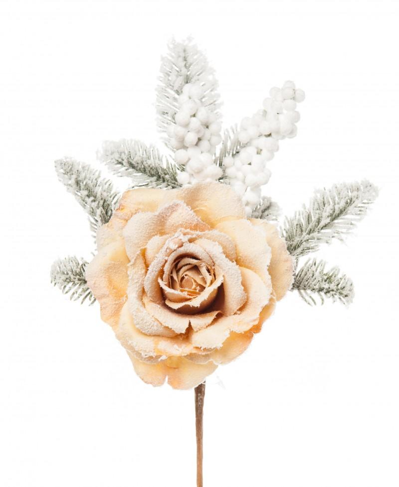 Tralcio Rosa e Pino Innevato cm 40 Beige
