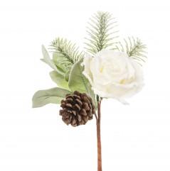 Pick Rosa e Pigna Innevata cm 25 pz.3 Bianco