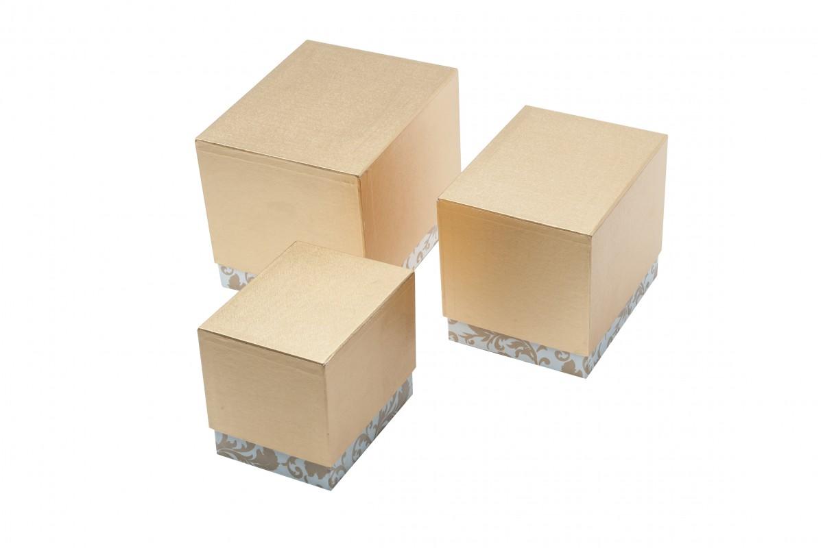 Set 3 Scatole Misura grande Oro/Bianco