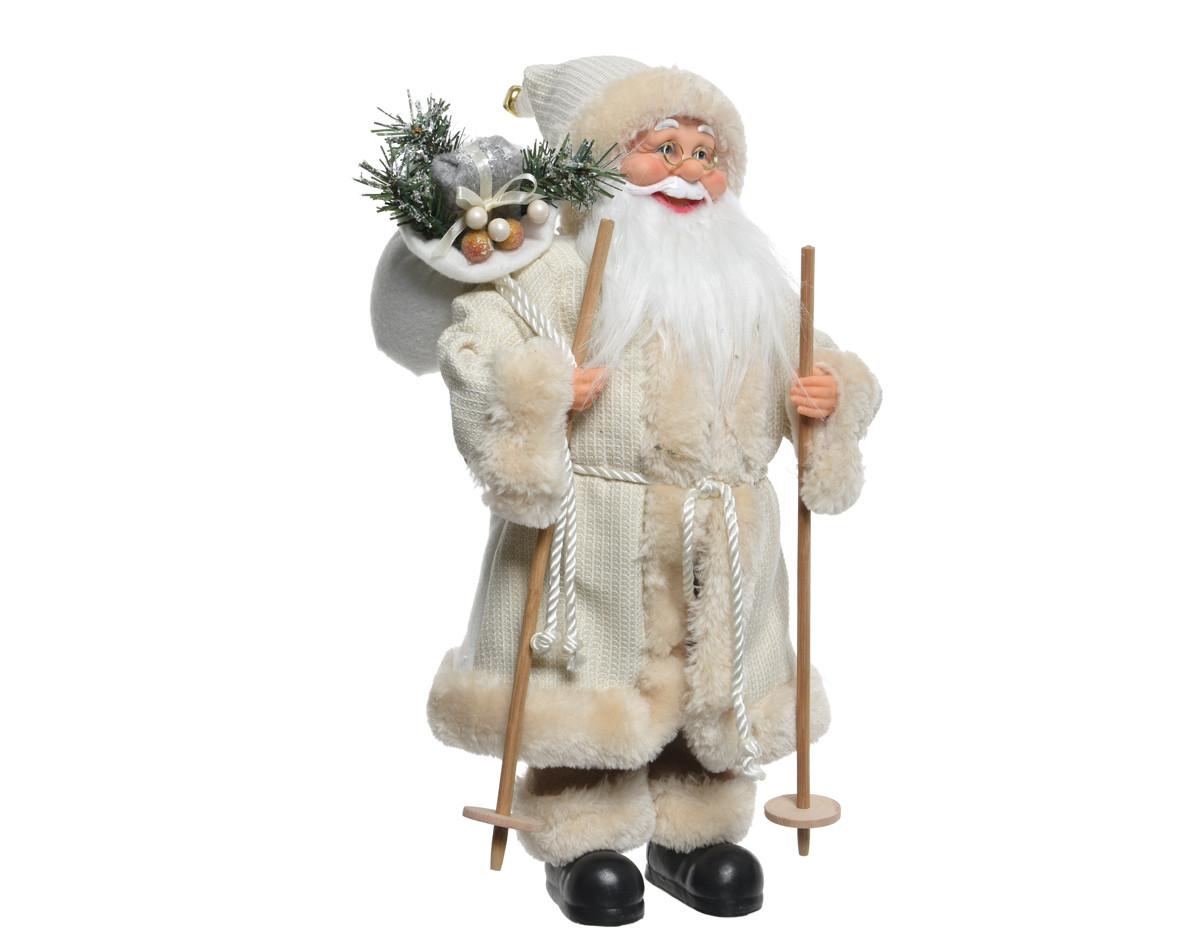 Babbo Natale Bianco con Sci cm 60