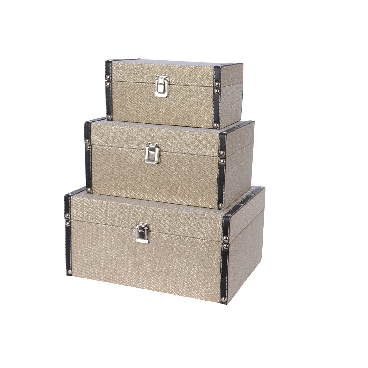 Baule Satinato con Rifiniture in Ecopelle cm 30 x 23 x 14
