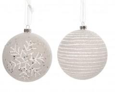 Palline Natale in plastica cm 8 pz.4 Bianche con Fiocco di neve