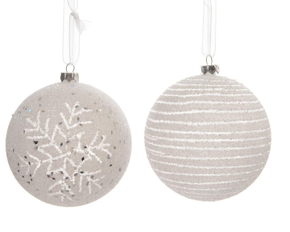 Pallina Natale in plastica dm 8 Bianca con Fiocco di neve