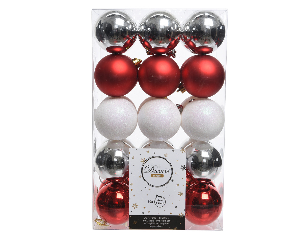 Palline Natale in plastica cm 6 pz.30 colori assortiti