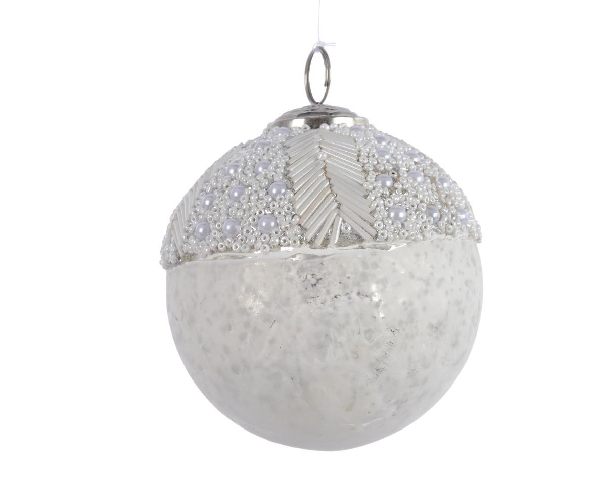 Sfera di vetro Bianca con Perle cm 10