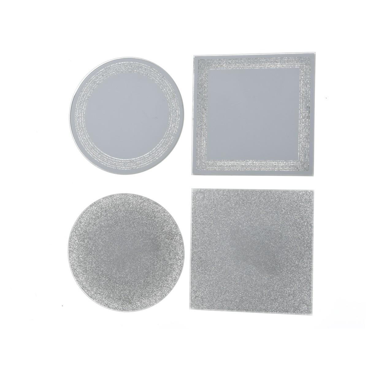 Piatto Mirror Bordo Argento cm 10