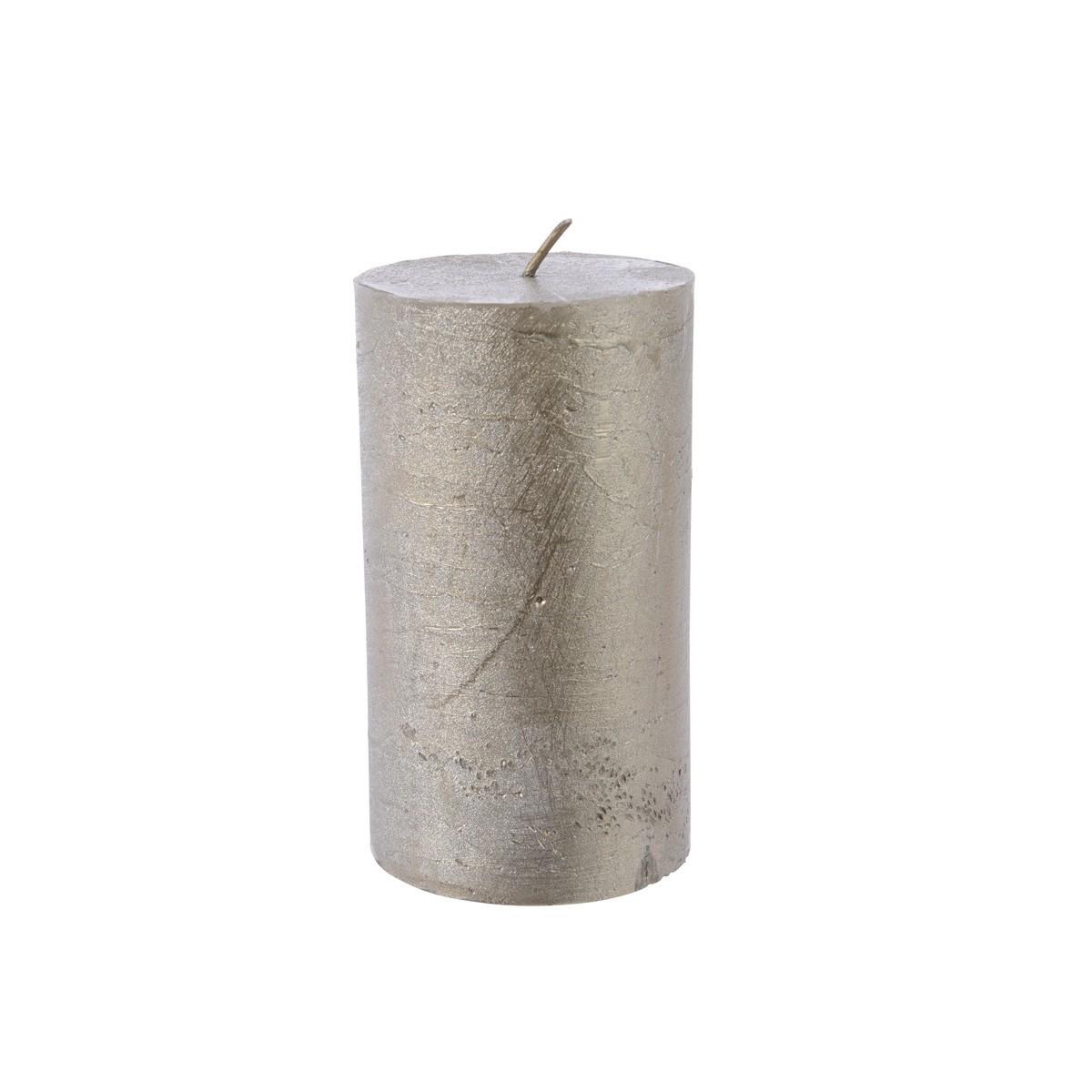 Candela Cilindrica Metallizzata cm 7 x 12 Platino