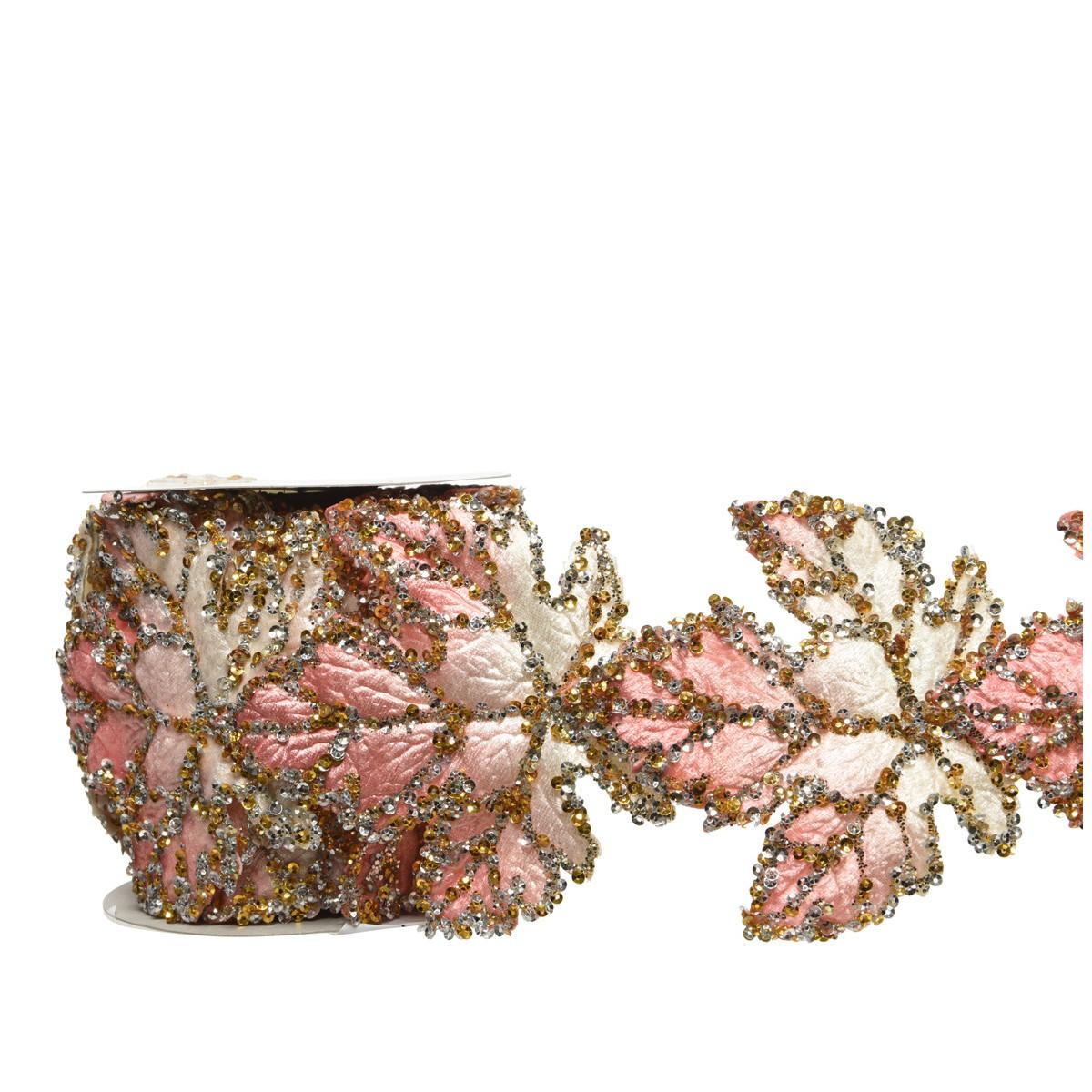 Nastro Grape Rosa e Oro cm 10 x 275