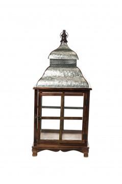 Lanterna in Legno e Metallo cm 38 x 38 x 85