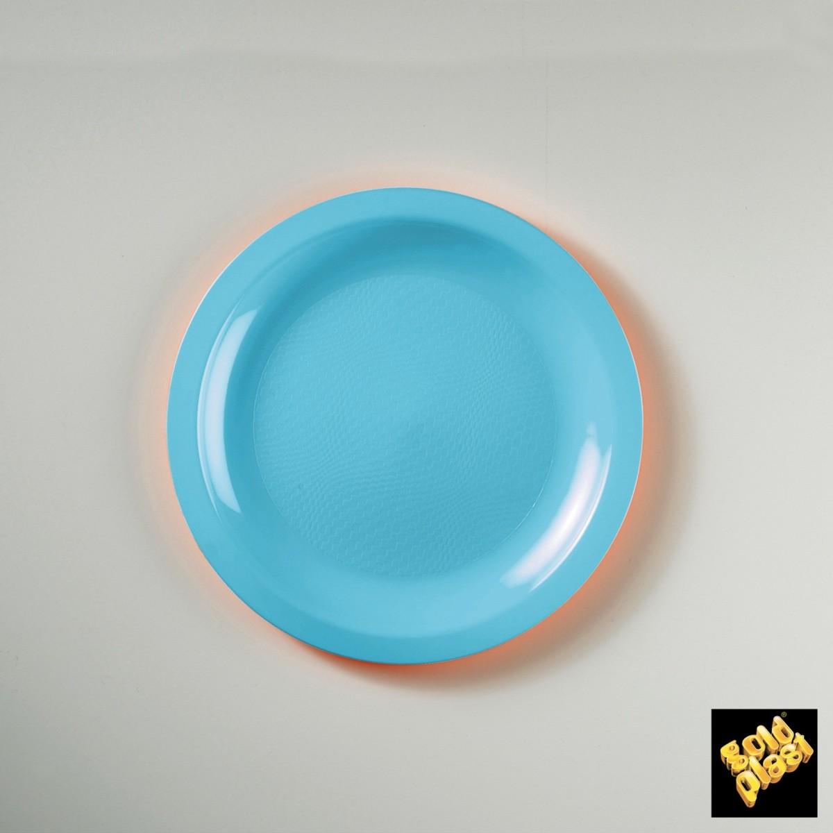 Piatto da Dessert in Plastica Colorato Diam. Cm.18,5 Confezione 50 Pezzi Azzurro