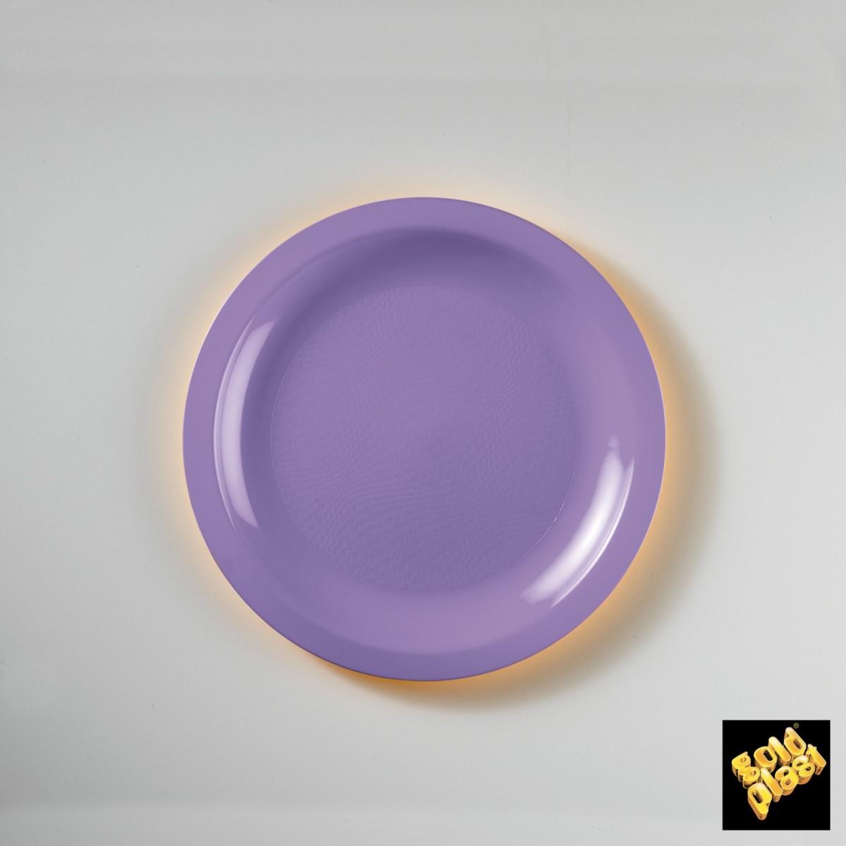 Piatto da Dessert in Plastica Colorato Diam. Cm.18,5 Confezione 50 Pezzi Glicine