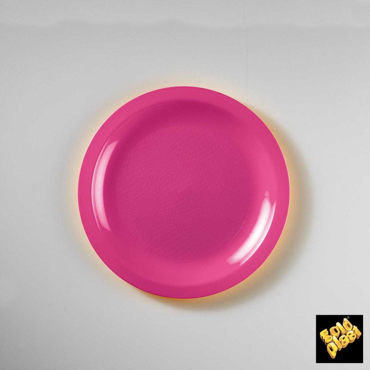 Piatto da Dessert in Plastica Colorato Diam. Cm.18,5 Confezione 50 Pezzi Fuxia