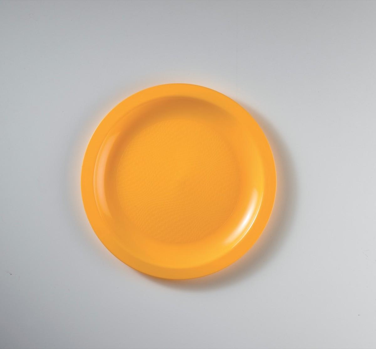 Piatto da Dessert in Plastica Colorato Diam. Cm.18,5 Confezione 50 Pezzi Giallo
