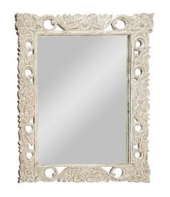 Specchio Legno Intagliato Decorato Bianco