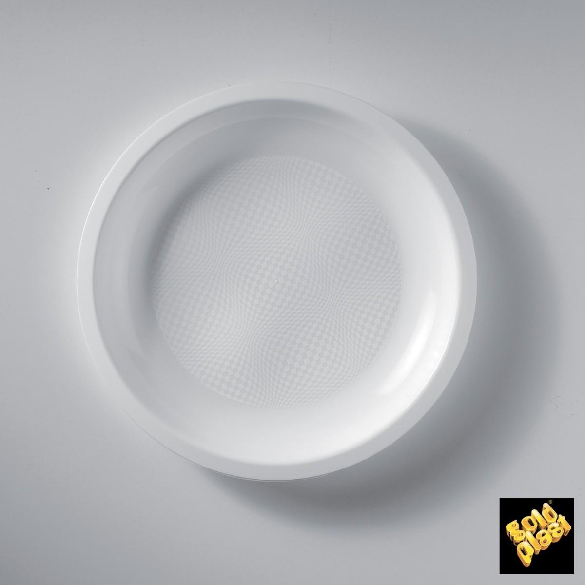 Piatto Tondo  Piano in Plastica Bianco Diam. Cm.22 Confezione 50 Pezzi