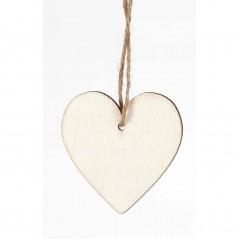 Cartellino in legno naturale a forma di cuore