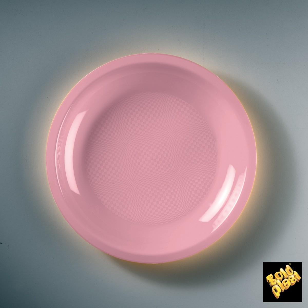 Piatto da Dessert in Plastica Colorato Diam. Cm.18,5 Confezione 50 Pezzi Rosa